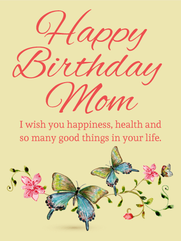 Butterfly Birthday Card For Mom Birthday & Greeting