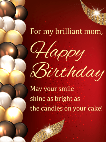 Stylish Birthday Balloon Card For Mom Birthday