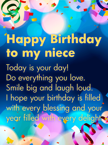 Today Is Your Day Happy Birthday Wishes Card For Niece