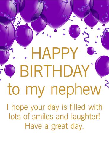 Purple Birthday Balloon Card For Nephew Birthday