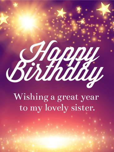 Shining Star Happy Birthday Card For Sister Birthday