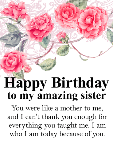 Stunning Rose Happy Birthday Wishes Card For Sister