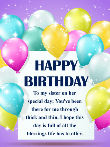 Full Of Blessings Happy Birthday Wishes Card For Sister