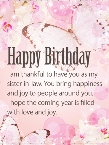 You Bring Happiness Happy Birthday Card For Sister In Law