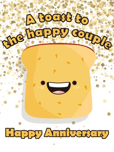 Let's Toast! Happy Anniversary Card Birthday & Greeting