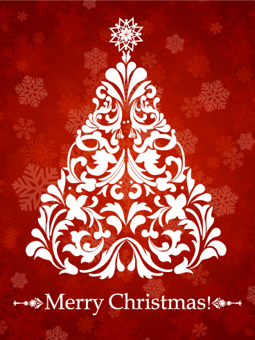 Swirl Christmas Tree Card Birthday & Greeting Cards By Davia