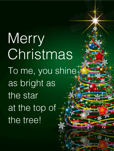Shining Star Christmas Tree Card Birthday & Greeting