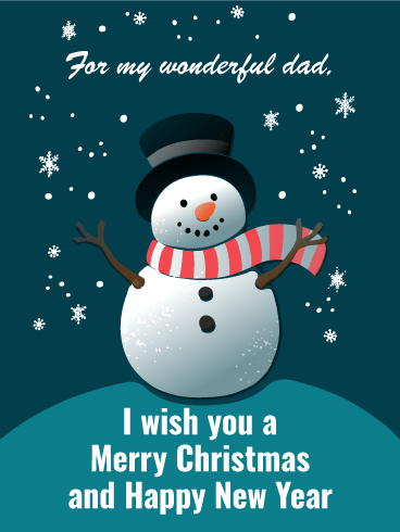 Cheerful Snowman Merry Christmas Card For Father