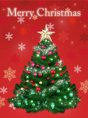 Snowflakes Amp Christmas Tree Card Birthday Amp Greeting Cards By Davia