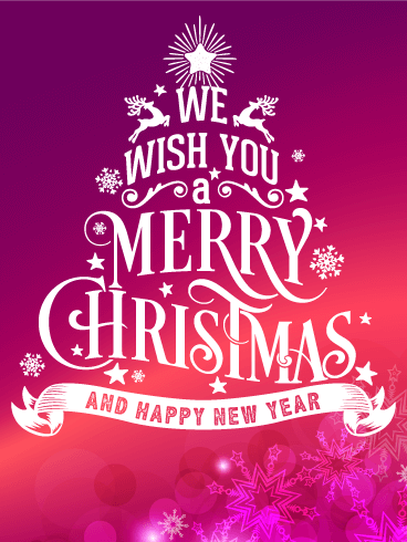 Typographic Style Christmas Card Birthday & Greeting