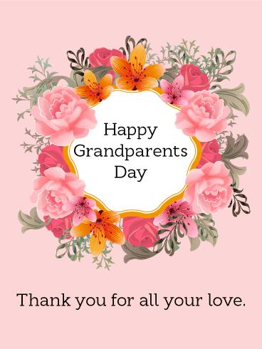 Grandparents Day Flower Wreath Card Birthday Amp Greeting