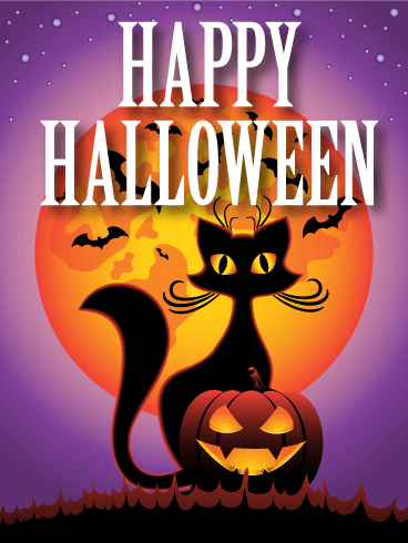 Spooky Night! Happy Halloween Card Birthday & Greeting