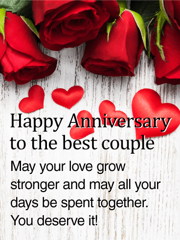 To The Best Couple Rose Happy Anniversary Card