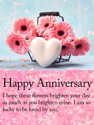 Pink Daisy Happy Anniversary Card Birthday & Greeting