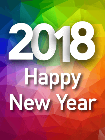 Colorful Rainbow Happy New Year Card 2018 Birthday