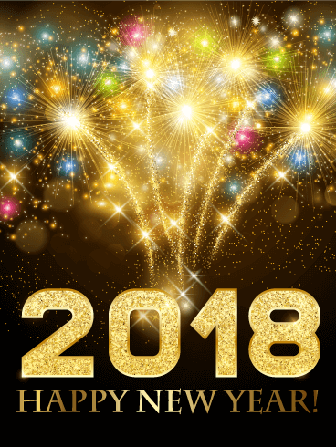 Colorful New Year Fireworks Card 2018 Birthday