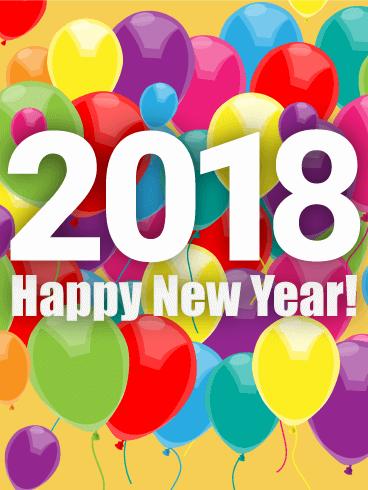 rainbow year balloon card 2018