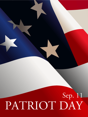 Patriot Day Waving Flag Card Birthday & Greeting Cards