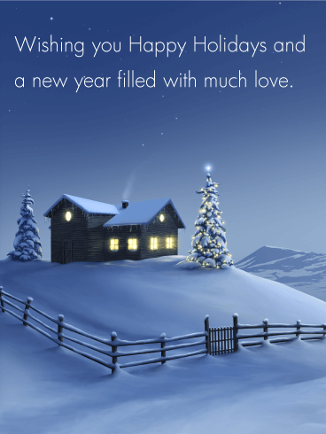 Winter Snow Night Season's Greetings Card Birthday