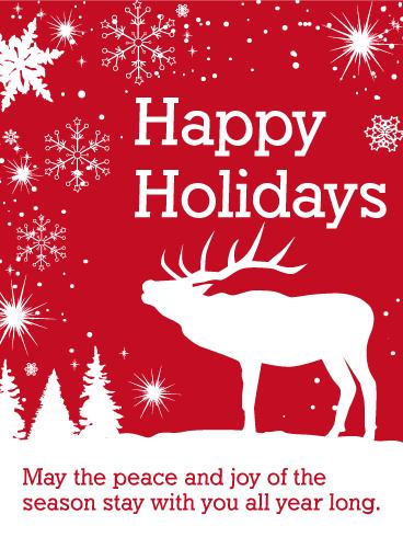 White Reindeer Happy Holidays Card Birthday Amp Greeting