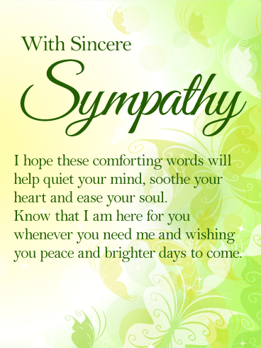 I Am Here For You Sympathy Card Birthday & Greeting