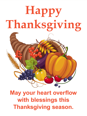 Thanksgiving Cornucopia Card Birthday & Greeting Cards