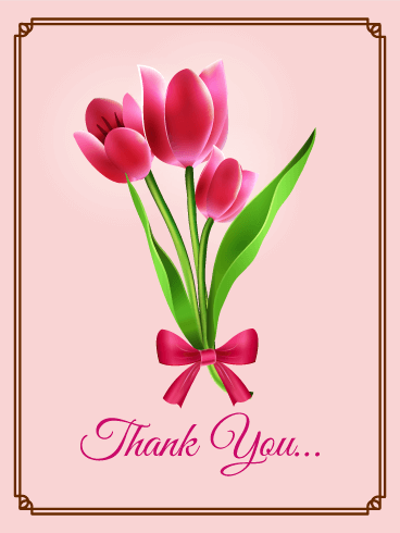 Pink Tulip Thank You Card Birthday & Greeting Cards By Davia