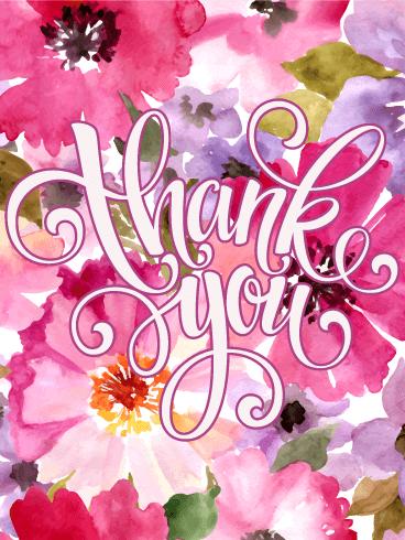 Elegant Pink Flower Thank You Card Birthday & Greeting