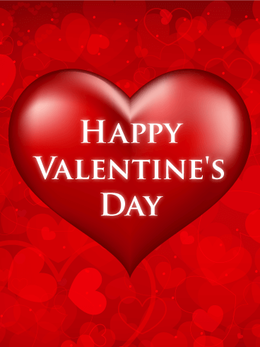 Red Heart Happy Valentine's Day Card Birthday & Greeting