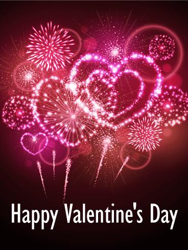 Heart Fireworks Happy Valentine's Day Card Birthday