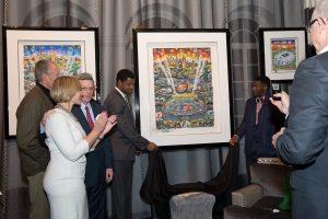 Quinton Couples and Antrel Rolle unveil the Fazzino artwork