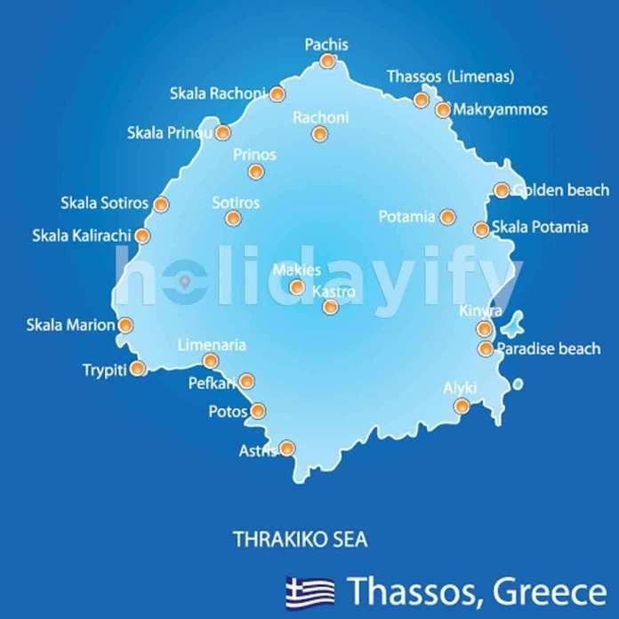 Thassos (Thasos) Haritası