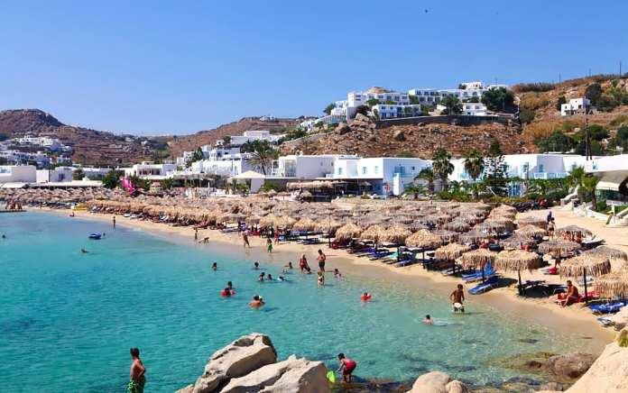 Platys Gialos plajı, Mykonos adası