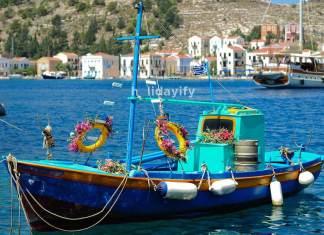 Greek fishing boat anchored in Kastellorizo