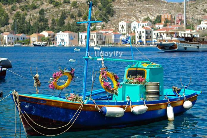 Greek fishing boat anchored in Kastellorizo