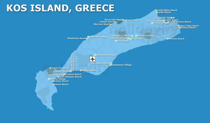 Kos Map, Dodecanese, Greece