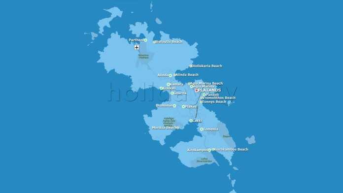 Leros Map, Beaches, Villages
