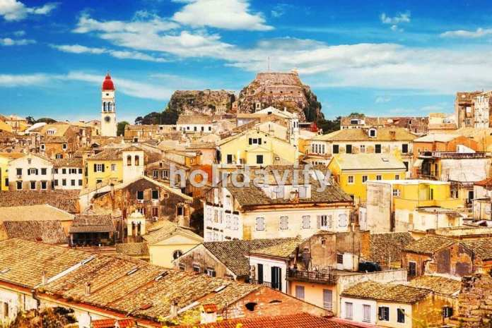 Panoramic view of Corfu Old Town, Greece