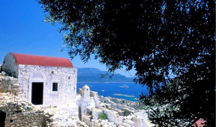 Panoramic view of the Monastery of Ai Giorgi of the Mountain in Kastelorizo