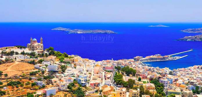 Panoramic view Syros island, Greece