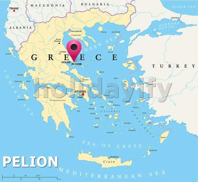 Where is Pelion on Map of Greece