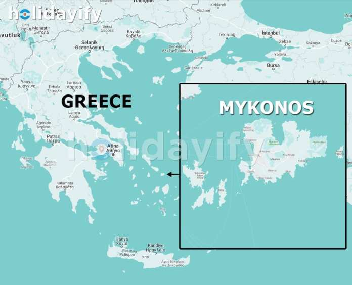 Map of Mykonos, Where is Mykonos?