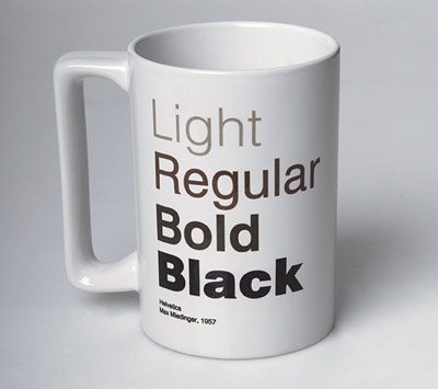 helvetica coffee cup hipster designer mug tea