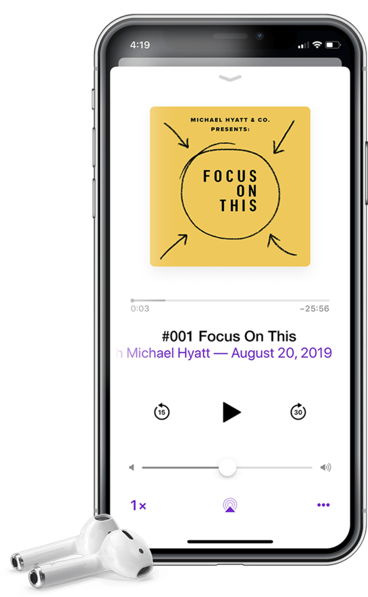 An iPhone and Air Pods showing the Focus on This podcast