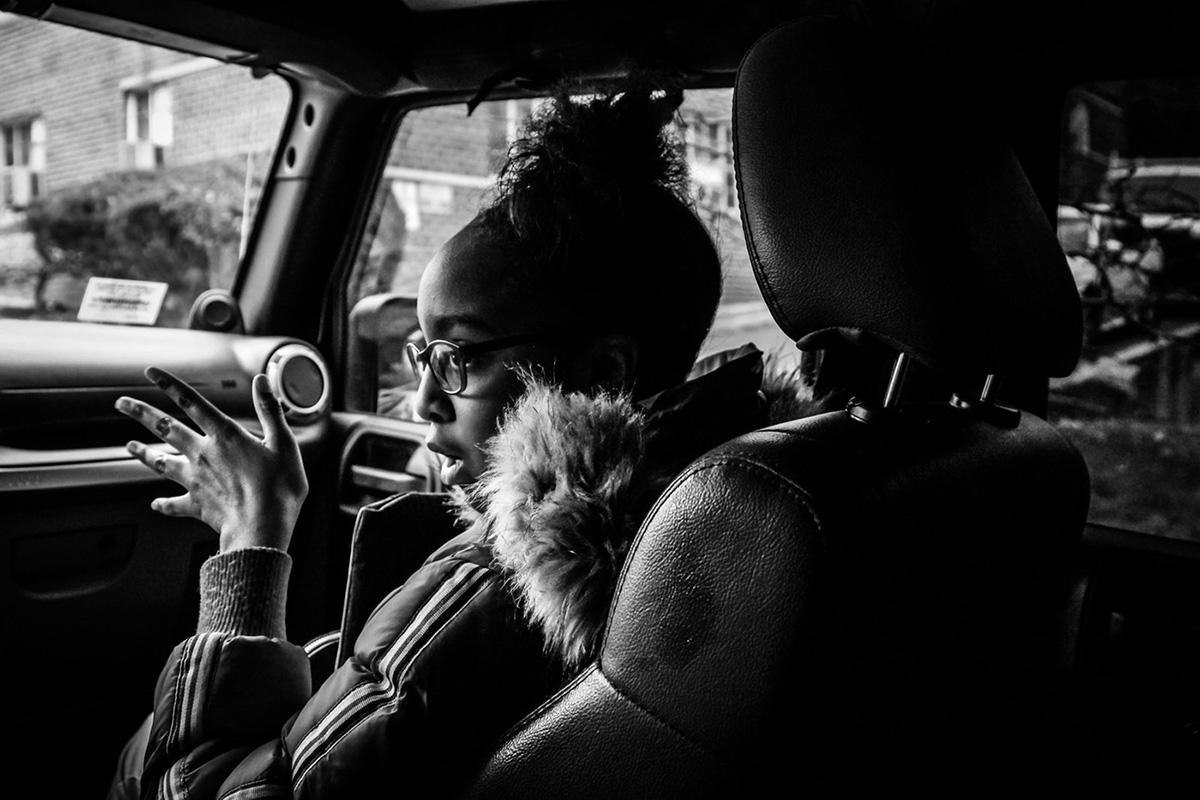 Photo of Zykera Tucker in car by Dee Dwyer