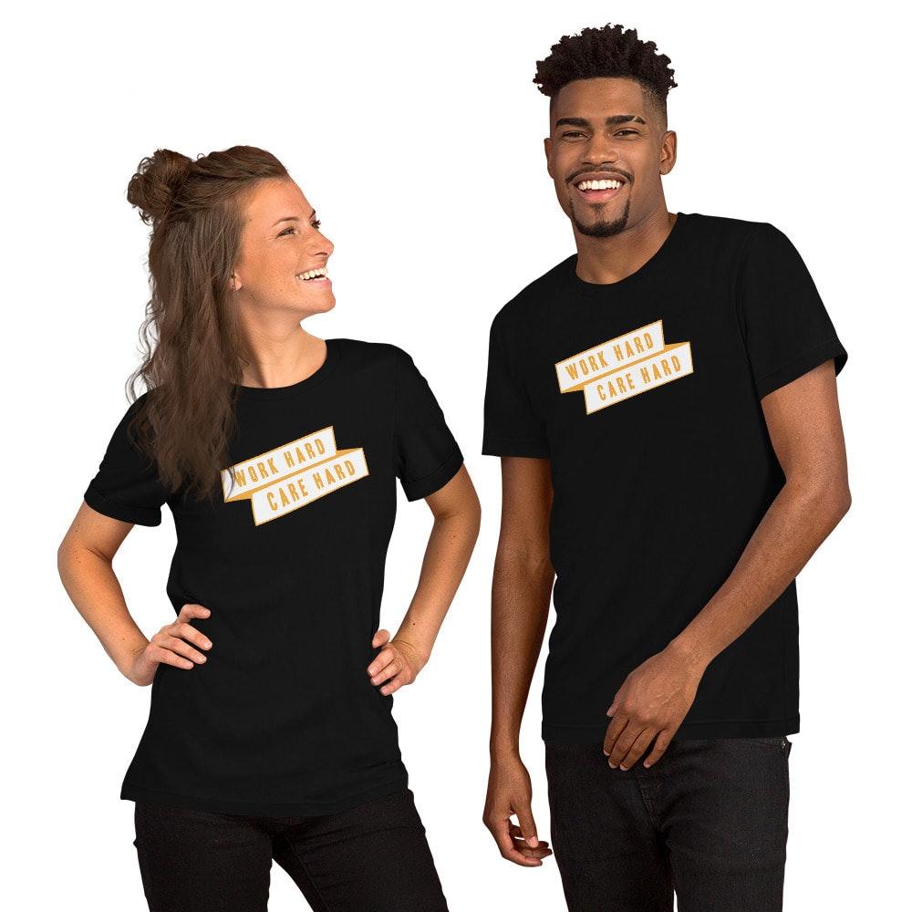 young woman and man wearing shirts