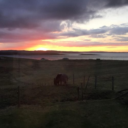 Sunset view from Julie Williamson's window - Shetland holidays