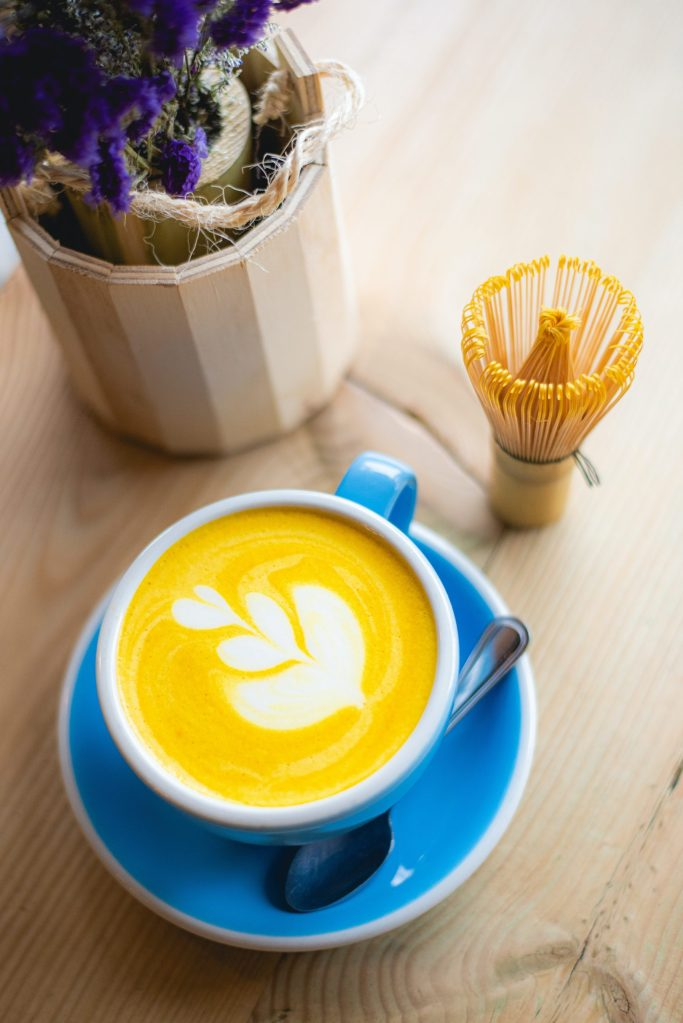 A turmeric latte at a coffee shop