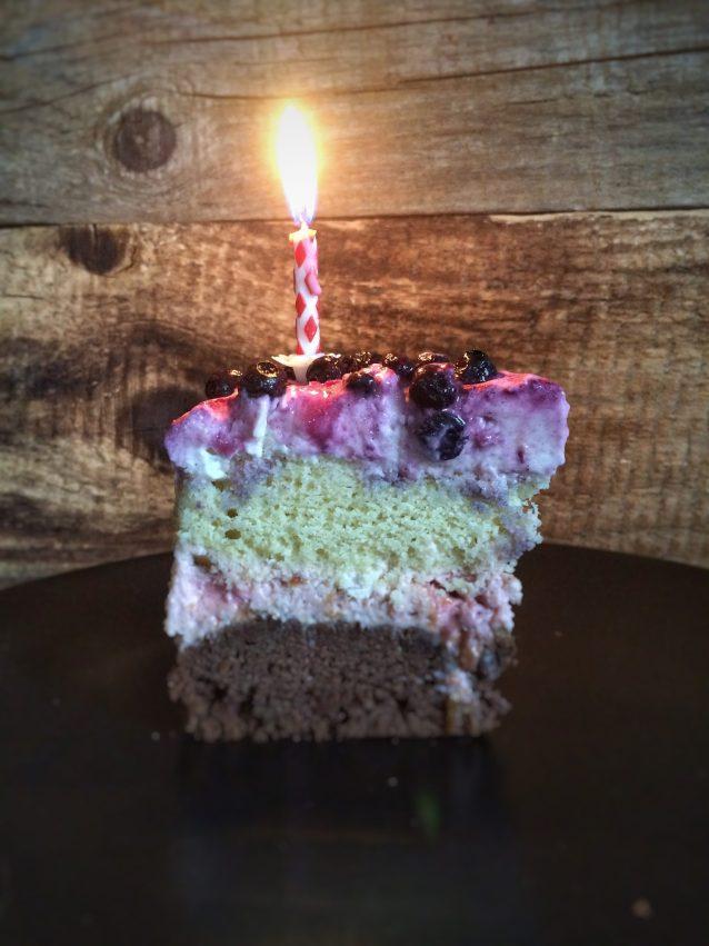 Happy birthday cake stück mit kerze