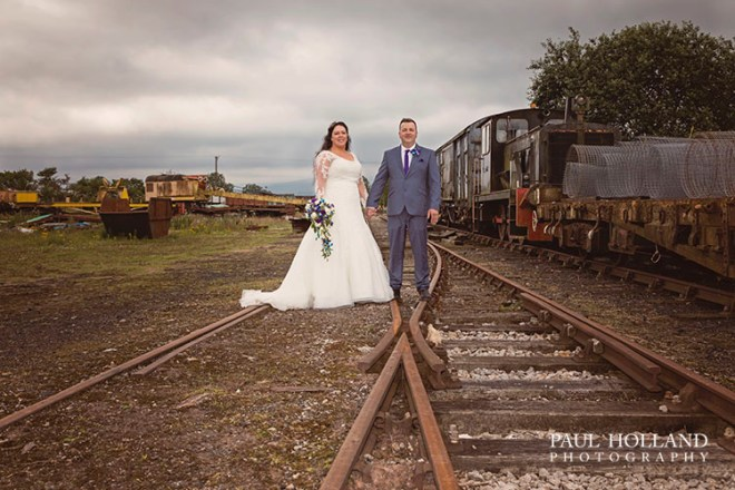 Image showing Grant and Sarah on the tracks at Warcop station